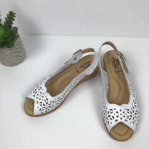 Spring Step white leather wedge sandals
